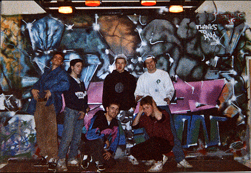 DJ FAME SEVERE PROUD2 DEMANE MA ONE (crouching) MAT (Crouching in front of 'Metallic Fusion') 1989
