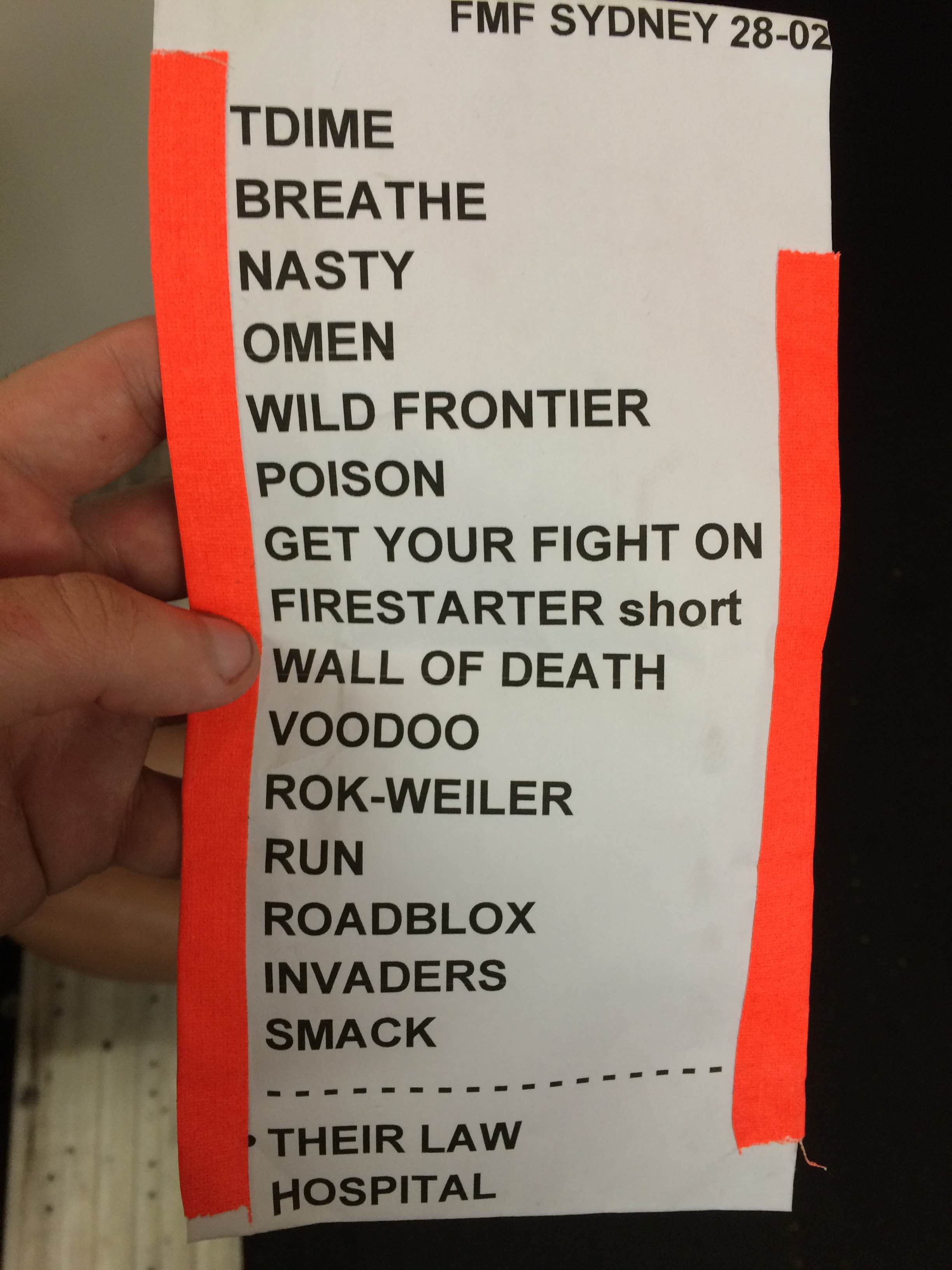 The Prodigy - Sydney Set List